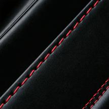 No.6 牛革ボルサ パステルクラシック ランドセル 黒/レッド ステッチ(糸)の色