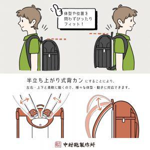 中村鞄のランドセル / 半立ち上がり式背カン